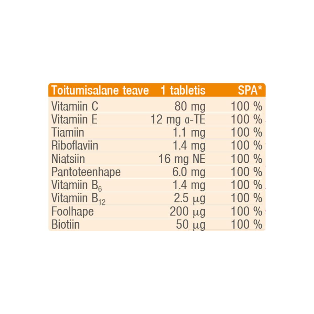 SANOTACT Toidulisand Multivitamiin. Vees lahustuvad joogitabletid 10 tähtsa vitamiiniga 82g