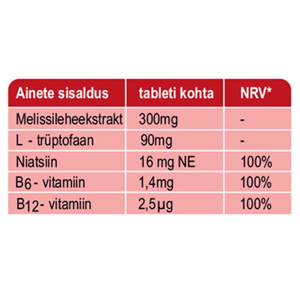 """SANOTACT Toidulisand """"Glücksgefühl"""" B- vitamiini ja sidrunmelissiga vaimse tervise ning meelelou parandamiseks 20tbl / 11,8g"""